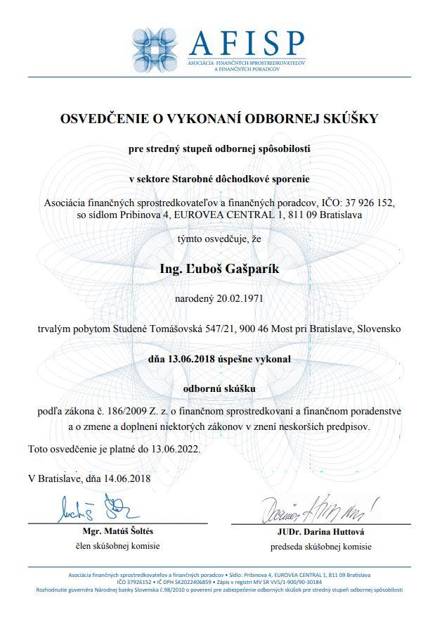 Certifikát II pilier