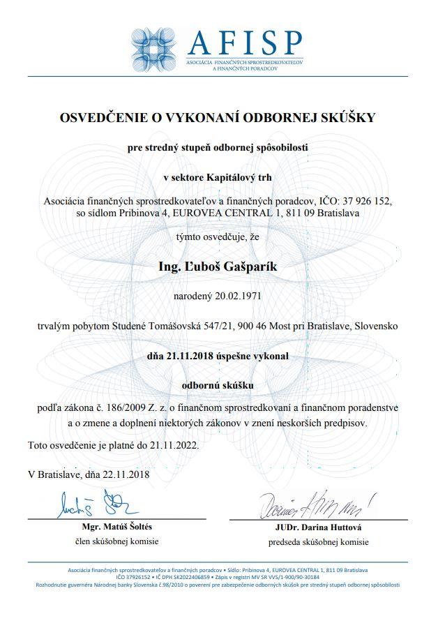 Certifikát kapitálový trh