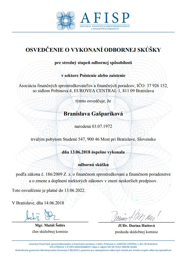 Certifikát zaistenie